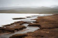 Desierto ártico, tundra Hielo enorme azul cristalino en el río de la montaña en mayo Río de la montaña de la bobina en paisaje de imagen de archivo libre de regalías