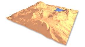 desierto 3d con el lago Fotos de archivo libres de regalías