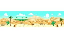 Desierto con el oasis ilustración del vector