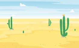 Desierto con la opinión del paisaje del cactus Arena y cactus Escena soleada hermosa del verano Caliente y salvaje Historieta del stock de ilustración