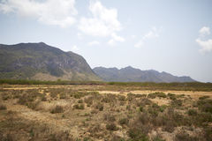 Desierto con las montañas Imagen de archivo