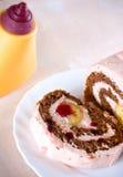 Desierto cremoso de la torta dulce del plátano Foto de archivo libre de regalías