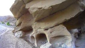 Desierto de Borrego del camino - cala de los pescados - paredes de la roca de la arena almacen de metraje de vídeo