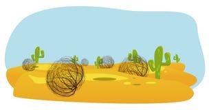 desierto del cactus y de la planta rodadora foto de archivo