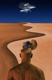 Desierto del hombre de pensamiento ilustración del vector
