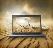 Desierto en el monitor Imagen de archivo libre de regalías