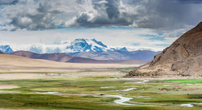 Desierto en la meseta de Tíbet Foto de archivo libre de regalías