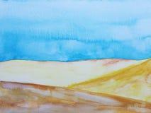 Desierto exhausto del paisaje del ejemplo de la mano de la acuarela stock de ilustración