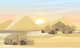Desierto grande con las dunas de arena, la hierba seca y las piedras Naturaleza de ?frica y de Australia stock de ilustración