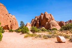 Desierto Moab en Utah Rocas de la piedra arenisca en parque nacional de los arcos Viaje a los E.E.U.U. del oeste, parques naciona Imagen de archivo libre de regalías