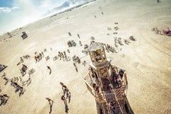 Desierto negro de la roca, los E.E.U.U. - 2dos de septiembre de 2016: Hombre ardiente Imagenes de archivo
