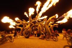 Desierto negro de la roca, los E.E.U.U. - 2dos de septiembre de 2016: Hombre ardiente Fotos de archivo libres de regalías