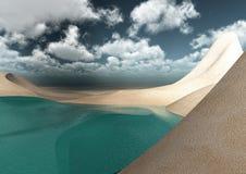 Desierto rodeado por el mar Fotografía de archivo