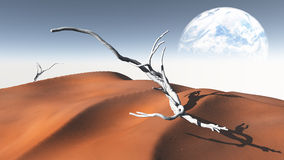 Desierto rojo de la arena con la luna o la tierra de Terraformed Fotografía de archivo