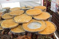 Desierto tradicional turco del baklava en el mercado Imagen de archivo libre de regalías