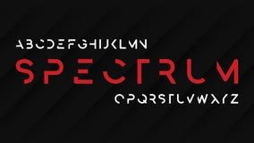 Desig decorativo futuristico regolare di carattere di caratteri sans serif di spettro illustrazione di stock