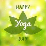 Desig internacional da bandeira, do folheto e do cartaz da ilustração do vetor do dia da ioga ilustração royalty free