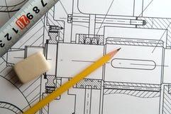 Design. Engineering drawing, pencil, eraser, tape-line Stock Image