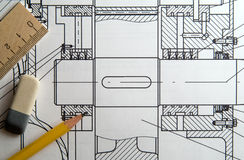 Design. Engineering drawing, pencil, eraser, tape-line Stock Photography