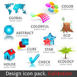 Design 3d color icon set. Collection Royalty Free Stock Photos