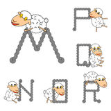 Design ABC with funny cartoon sheep Royalty Free Stock Photo
