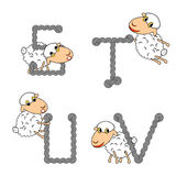 Design ABC with funny cartoon sheep Stock Images
