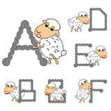 Design ABC with funny cartoon sheep Stock Photography