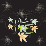 Design with abstract lilies on black background Stock Photography