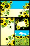Design with abstract sunflowers Royalty Free Stock Image