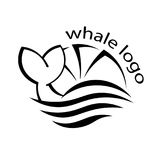 Design with abstract symbol of whale and sea wave. Vector illustration. Vector Royalty Free Stock Photos