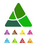 Design abstract triangle logo element. Crushing triangle pattern. Colorful triangle icons set Stock Image