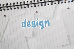 Design against digitally generated notepad with lined paper Royalty Free Stock Image