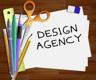 Design Agency Means Creative Artwork 3d Illustration. Design Agency Meaning Creative Artwork 3d Illustration Stock Images