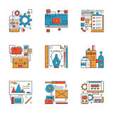 Design agency services line icons set royalty free illustration