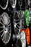 Design alloy rims at the AMI. Leipzig, Germany. Design light-alloy rims at the AMI - Auto Mobile International Trade Fair on June 1st, 2014 in Leipzig, Saxony Royalty Free Stock Image