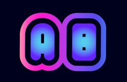 Ab a b pink blue gradient alphabet letter logo combination icon. Design of alphabet combination letter ab a b pink blue gradient color suitable as a logo for a stock illustration