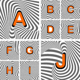 Design alphabet letters from A to J. Striped wavin Royalty Free Stock Images