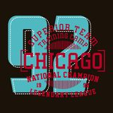 Design alphabet and numbers chicago national champion. Graphic design alphabet, numbers and typography for shirt and print Stock Photography
