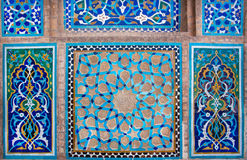 Design of antique ceramic tile inside the historic house in Iran Stock Photography