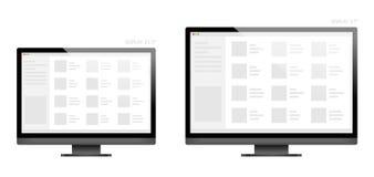 Design-Anzeigentischplattengröße 21 des Computers schwarze 5 und 27 Zoll Lizenzfreie Abbildung
