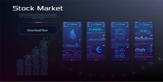 Design-APP-cryptocurrency Geldbörse UI UX Moderne Benutzerschnittstellen-Schirmschablone für intelligentes Mobiltelefon lizenzfreie abbildung