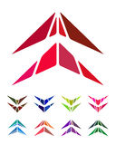 Design arrow logo element. Crushing abstract pattern. Colorful hang gliding, aircraft icons set Stock Image