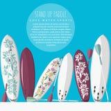 Design-Artillustration des bunten Vektors stehen flache von oben paddl Stockbilder