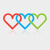 Design associated three Hearts Stock Images