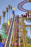 The design of the attraction. Ways in which rides a cabin with passengers on roller coaster rides Stock Photography