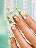 Design auf weiblichen Nägeln stockfotos