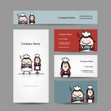 Design av affärskort med kockkocktecknade filmen Royaltyfri Fotografi