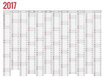 Design av den månatliga kalendern för vägg för 2017 år Veckan startar söndag Uppsättning av 12 månader Royaltyfria Bilder