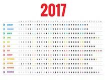 Design av den månatliga kalendern för vägg för 2017 år Veckan startar söndag Uppsättning av 12 månader Arkivfoton