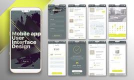 Design av den mobila applikationen, UI, UX royaltyfri illustrationer